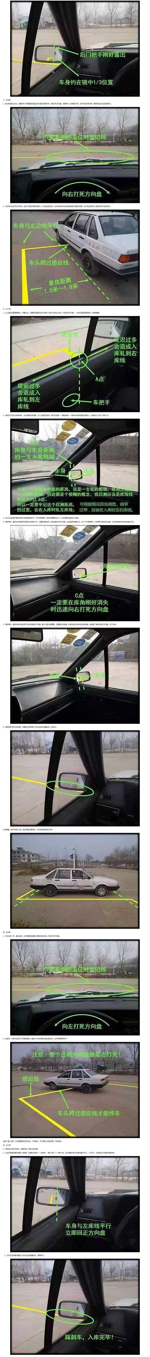 图解最新右后视镜倒车入库法 比左后视镜还简单_科目二